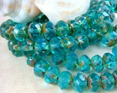 6x8mm Rondelle, Czech Glass Beads - Aqua Blue Glass Beads (0597) - Qty 12