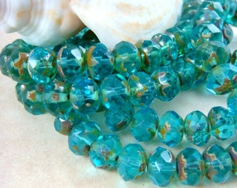 8x6mm Rondelle, Czech Glass Beads - Aqua Blue Glass Beads (0597) - Qty 12