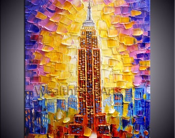 original oil painting,Empire State building painting,New York city painting,impasto oil on canvas, 40''  palette knife painting by Enxu.Zhou