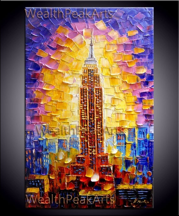 Empire State building painting,New York city painting,impasto oil on canvas