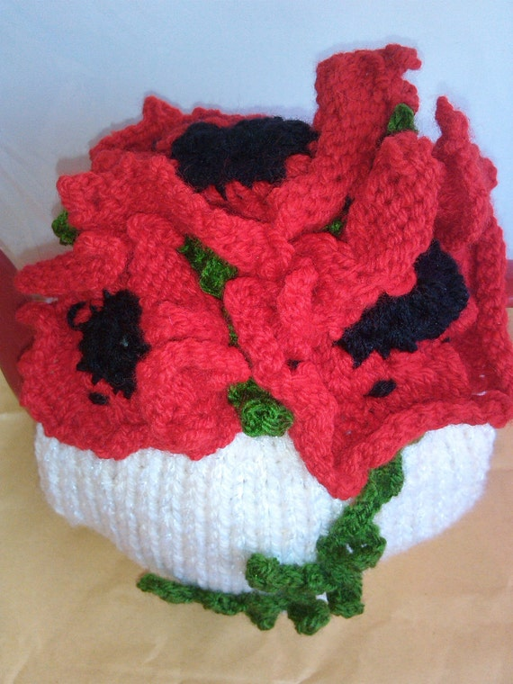Knitting Pattern For Poppy Flowers : POPPY FLOWER Tea Cosy Knitting Pattern by KnittingPatternShop