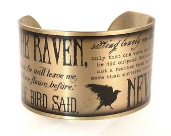 The Raven by Edgar Allan Poe Bracelet, Typography Cuff, Edgar Allan Poe, Literary Jewelry