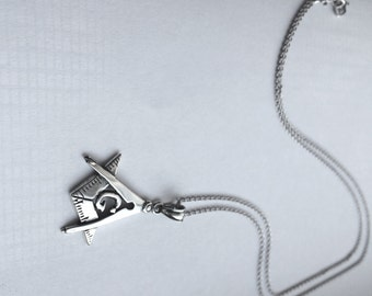 Mason Pendant Necklace in Sterling Silver, Mason Jewelry, Masonic Symbol Jewelry