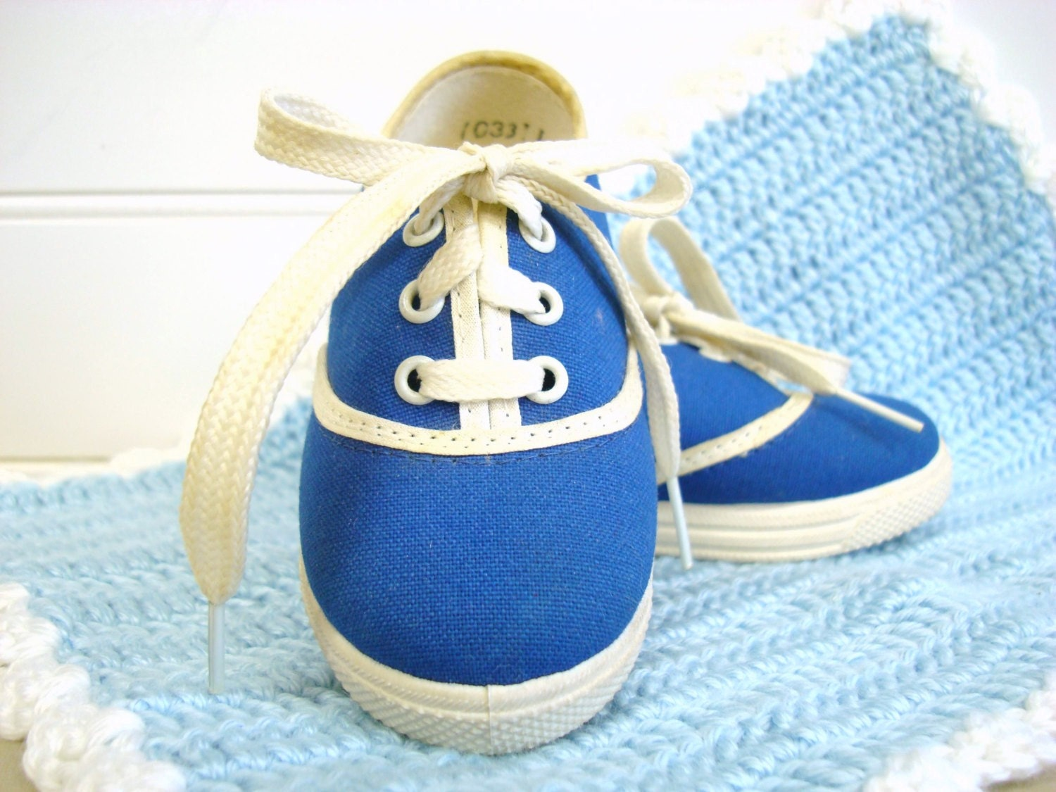 Vintage Baby Shoes Baby Girl Tennis Shoes Blue by