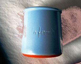 Terracotta yoghurt pots in pale blue