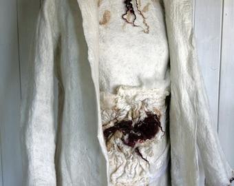 SALE 15% - Jacket hand felted seamless nuno felt technique, Merino, silk