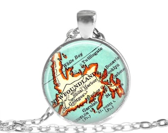 Newfoundland, Canada map jewelry, Newfoundland map necklace pendant charm by LocationInspirations, Canada map necklace, A147