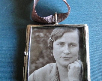 Woman Pendant Mother Necklace Hobo Sign Locket Outsider Art