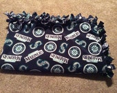 Seattle Mariners Baseball No Sew Fleece Tie Blanket - Warm Wrap / Swaddle / Cuddle / Minky / Toss / Security / Throw / Quilt / Bedding