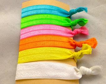 Set of 6 Bright Elastic Hair Ties