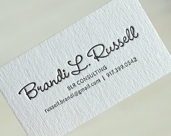 Letterpress Business Cards - White cardboard 30E  - 0,8 mm thick