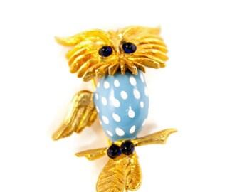 Owl Brooch, Signed Oleg Cassini, One Wing Owl Pin