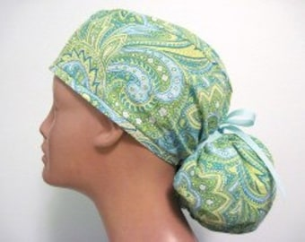 Pistachio Women's Surgical Ponytail Scrub Hat Cap from Linda's Lids