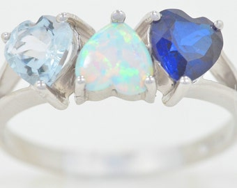 Aquamarine Opal & Blue Sapphire Heart Ring .925 Sterling Silver