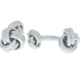 11.2 Grams Knot Cufflinks .925 Sterling Silver Rhodium Finish