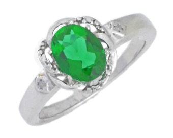 1.5 Ct Emerald & Diamond Oval Ring .925 Sterling Silver Rhodium Finish