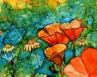 Print of Original Alcohol Ink Painting  - Orange Poppies- Flowers- 5x7, 8x10, 11x14- Alcohol Ink