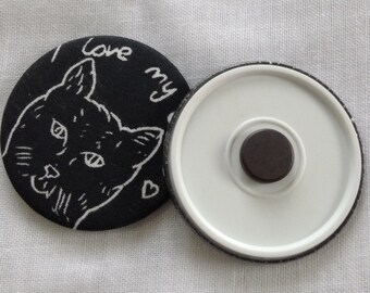 Hand printed Cat Fridge Magnet