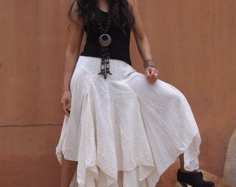 Boho Long Skirt .....Long Skirt ...Color Natural Cotton