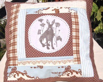 Meadow Hare and Log Cabin Patchwork Cushion in Blue ,Brown and White. Hare Hand Screen  Printed onto Vintage Linen From an Original Drawing.