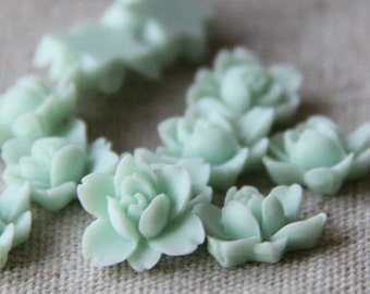 12 pcs of resin lotus flower cabochon RC0011-44-mint green