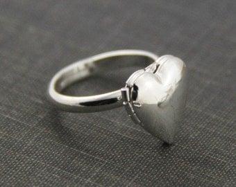 2pcs  brass heart  locket ring -sterling silver