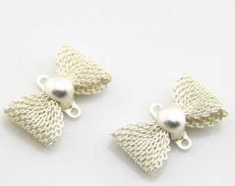 12 pcs of brass filigree bow charm two loop connectore-22x17mm-1923-matte silver