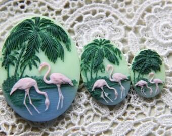 12 pcs of resin cameo 30x40 18x25 mm-RC0120-flamingo