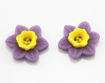 12 pcs of resin flower cabochon 16mm-0889-purple yellow