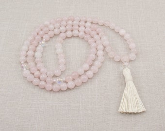 Rose Quartz Mala with Quartz Crystal - 108 Prayer Beads - Meditation Necklace - Pink - Unconditional Love & Infinite Peace - Item # 972