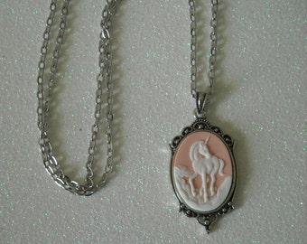 White Unicorn Antique Silver Victorian Necklace