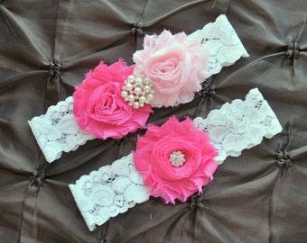 Wedding Garter, Bridal Garter Set - White Lace Garter, Keepsake Garter, Toss Garter, Hot Pink Wedding Garter, Blush Wedding Garter Belt