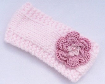 HALF PRICE SALE Baby girl hand knitted pale pink ear warmers / headband /photo prop to fit 0 to 3 months