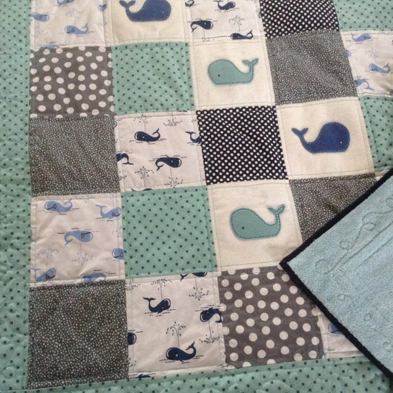 Baby Quilt Whales With Cuddly Back By Lovesewnseams On Etsy