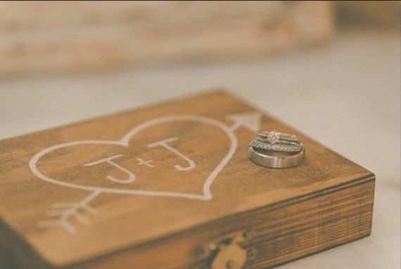 Items similar to wooden wedding ceremony ring bearer heart for Heart ring box