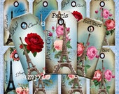 Vintage Paris Eiffel tower with Roses. 2 x 4 tags 300dpi Digital Collage sheet Instant Download Png files Post cards - Carte postale
