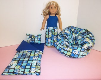 Fits American Girl Doll Blue/ Peace Signs Sleeping Bag Pajamas  And Bean Bag Set 126 RB