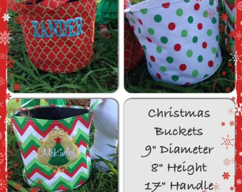 Christmas Buckets - Christmas Baskets - Monogrammed Buckets