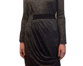Winter dress / Long sleeves dress / Gray evening dress / Chic dress / long dress