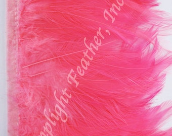 Rooster hackle trim, Hot pink on bias tape, per 5 yards
