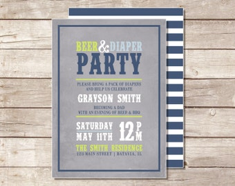 Beer & Diaper Party Invitation - Printable
