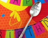 Happy Birthday-Repurposed vintage hand stamped spoon