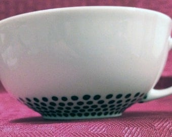 Teacup with Hand Painted Dark Green Dotted Pattern