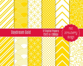 75% OFF Sale - Daydream Gold - 12 Digital Papers - Instant Download - JPG 12x12 (DP150)