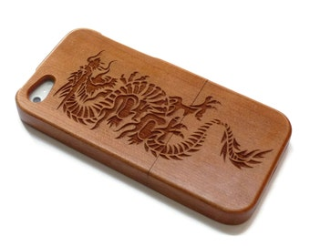 iphone 5 case / iphone 5S case wood - wooden iphone 5 case bamboo, cherry and walnut wood - Dragon