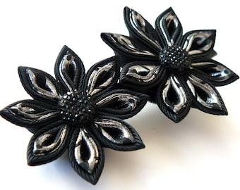 Kanzashi fabric flower hair clip. Black and silver kanzashi hair clip. Black flower hair clip.