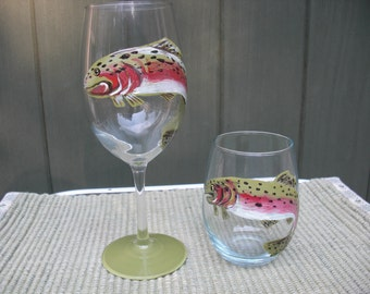 Hand Painted Wine Glasses with Trout Image