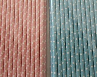 25 Small Polka Dot Paper Straws / Paper Party Wedding Straws / Birthdays / Shower Decor / Wedding Supplies / Party Supplies / Baby Shower