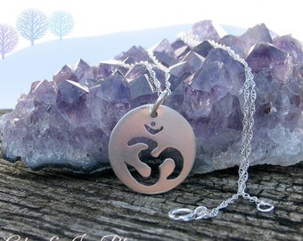 Om Symbol Necklace, Yoga Symbol, Buddhist Peace Symbol, Sterling Silver Jewelry