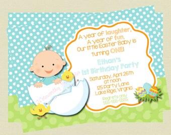 Easter Birthday Invitation, Boy Easter Invitation, Kids Easter Egg Hunt Birthday, Easter Baby Shower Invitation, DIY Printable File